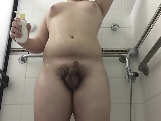 Chubby Teen washes Cock and Asshole amateur chubby fetish