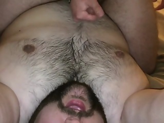 My hot cub straddling me and stroking out a nice big load all over my fur amateur handjob chubby