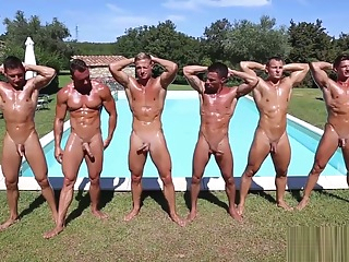 Ftiness models pool party group sex hd public
