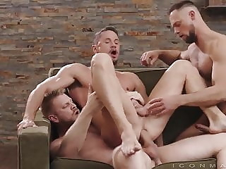 bareback group sex muscle
