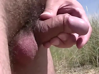 In the dunes at public beach playing with cock and balls public outdoor gay