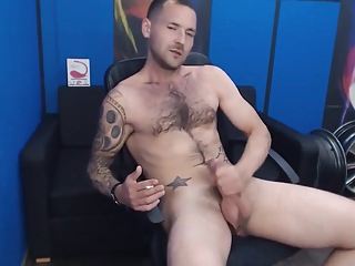 Sexy hairy guy jerk off while smoking cumshot daddy big cock