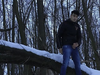 Winter jerking off on the tree cumshot big cock amateur