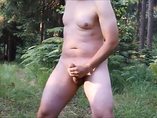 Crazy wanker jerking off at forest crossroads masturbation outdoor public