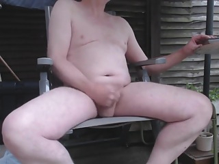 Stripping naked and wanking in the garden, showing ass and cumming amateur solo male cumshot