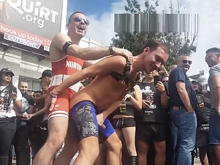 2 hot guys fucking, rimming in the street at Folsom 2018 in San Francisco big cock amateur hd