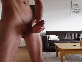 Shaved BvdH Fat Cock Standing Solo Precum Wank Session With Lube & Cum cumshot big cock hd