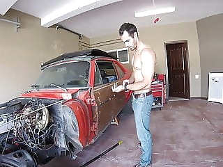 big dick in the garage amateur big cock hunk